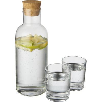 Dekoruotas grafinas ir dvi stiklinės su užrašu
